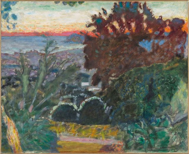 Pierre Bonnard. Paysage, soleil couchant (Landscape at sunset), c1923. Oil on canvas, 59 x 72.5 cm. Musée Bonnard, Le Cannet, gift from the Fondation Meyer pour le développement culturel et artistique, permanent loan from the musée d'Orsay, Paris. © Adagp, Paris 2016. © RMN-Grand Palais (musée d'Orsay) / Hervé Lewandowski.