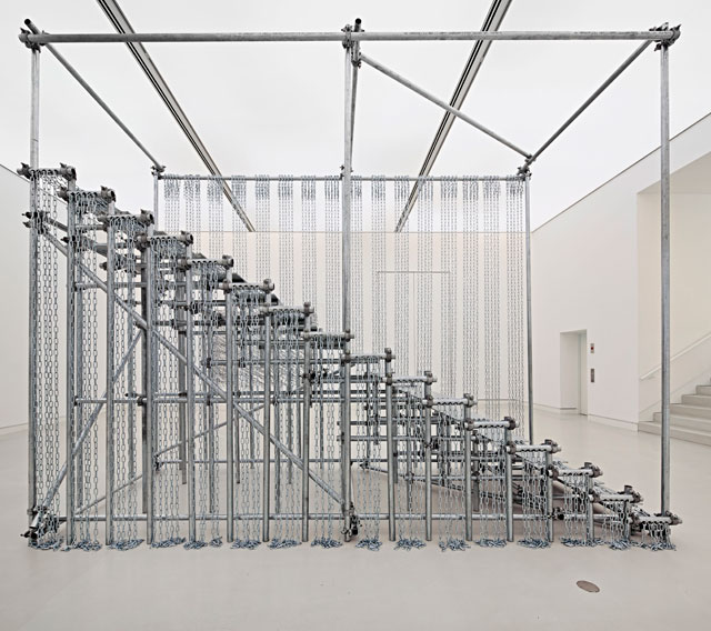 Monica Bonvicini. Scale of Things (to come), 2010. Galvanized steel pipes, galvanized plates and chains, clamps, 393 x 192 x 485 cm approx. © Monica Bonvicini.