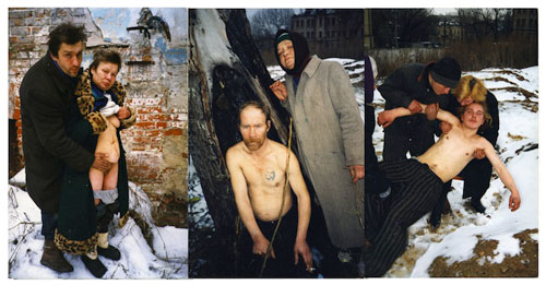 Boris Mikhailov. Untitled Triptych from the series Case History, 1997–98. C-Print, 60 x 40 cm each. © Boris Mikhailov. Courtesy of Sprovieri Gallery.