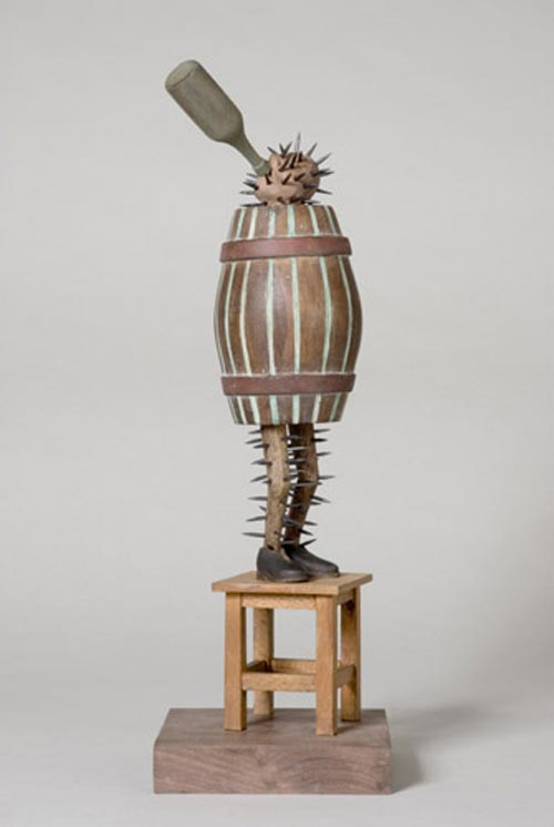 Andràs Böröcz. <em>Barrel-cactus</em>, 2006. Mixed media construction. 15 x 5 x 5 in. Courtesy Adam Baumgold Gallery.