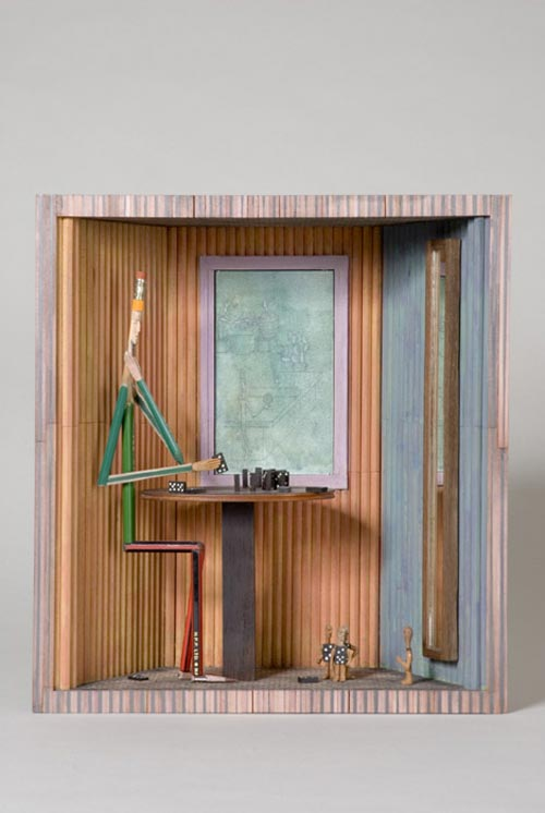 Andràs Böröcz. <em>Domino Solo</em>, 2006. Carved pencils, mixed media construction 13 3/4 x 10 5/8 x 5 ¼ in. Courtesy Adam Baumgold Gallery.