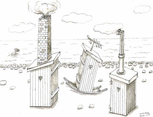 Andràs Böröcz. <em>Home Sweet Home (Outhouse drawings)</em>, 2006. 24 drawings, Ink and wash on paper 9 x 12 in. Courtesy Adam Baumgold Gallery.