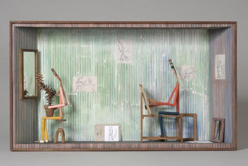 Andràs Böröcz. <em>Model with Cactus</em>, 2006. Carved pencils, mixed media construction 14 x 24 1/2 x 4 ¼ in. Courtesy Adam Baumgold Gallery.