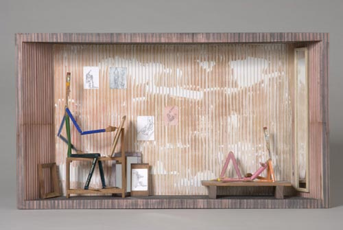 Andràs Böröcz. <em>Big Nude</em>, 2006. Carved pencils, mixed media construction 13 3/4 x 24 1/2 x 4 in. Courtesy Adam Baumgold Gallery.