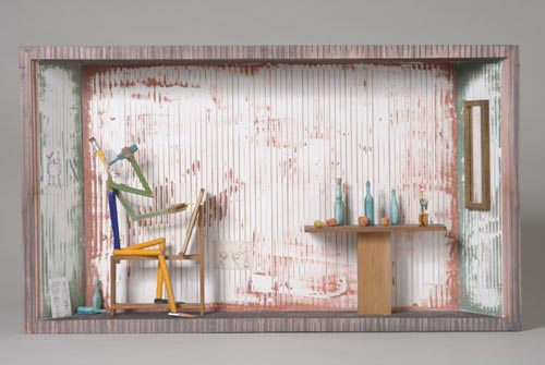 Andràs Böröcz. <em>Still Life</em>, 2006. Carved pencils, mixed media construction. 14 x 24 1/2 x 4 in. Courtesy Adam Baumgold Gallery.