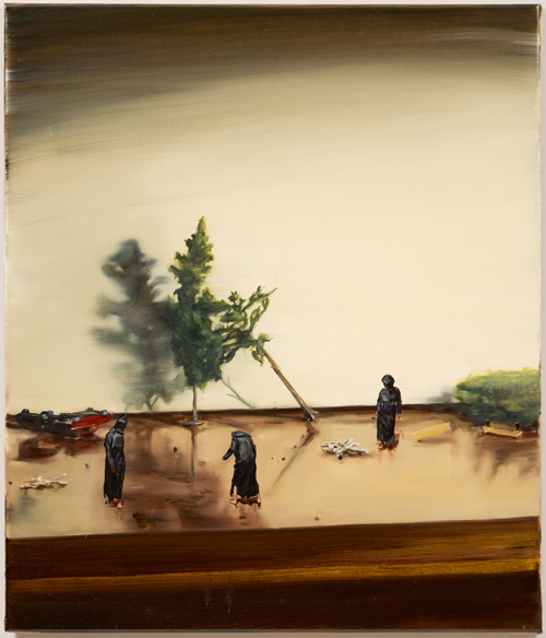 Michaël Borremans. Black Mould / Disaster, 2015. Oil on canvas, 32 3/4 x 28 in (83 x 71 cm). Courtesy David Zwirner, New York/London and Zeno X Gallery, Antwerp.