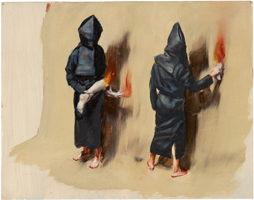 Michaël Borremans. Black Mould / Fiery Limbs, 2015. Oil on cardboard, 9 1/8 x 11 1/2 in (23 x 29.2 cm). Courtesy David Zwirner, New York/London and Zeno X Gallery, Antwerp.