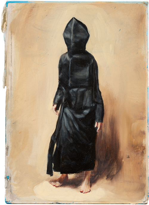 Michaël Borremans. Black Mould / Pogo, 2015. Oil on cardboard, 12 3/4 x 9 1/8 in (32.4 x 23 cm). Courtesy David Zwirner, New York/London and Zeno X Gallery, Antwerp.