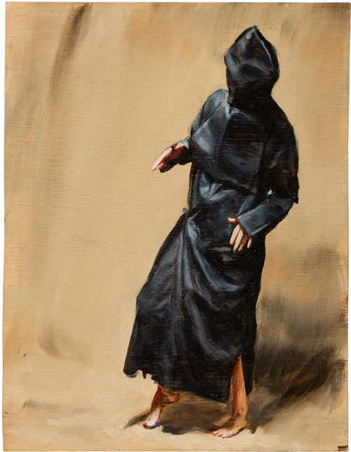Michaël Borremans. Black Mould / Pogo, 2015. Oil on wood, 11 3/4 x 9 in (29.8 x 22.9 cm). Courtesy David Zwirner, New York/London and Zeno X Gallery, Antwerp.