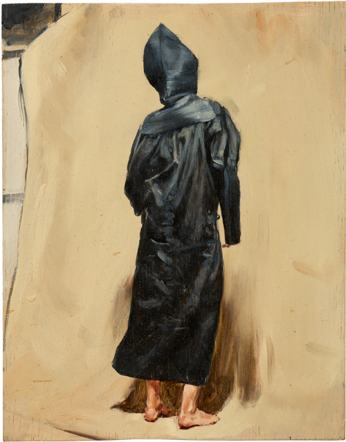 Michaël Borremans. Black Mould / Pogo, 2015. Oil on wood, 11 7/16 x 9 in (29 x 22.7 cm). Courtesy David Zwirner, New York/London and Zeno X Gallery, Antwerp.