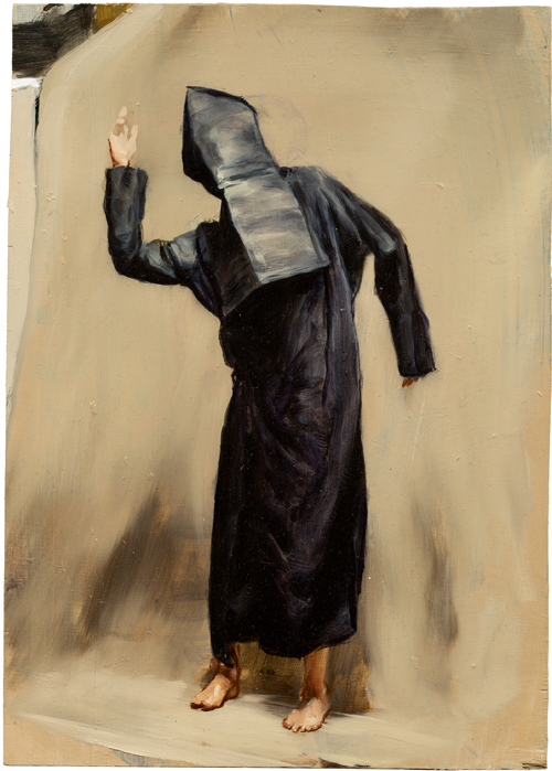 Michaël Borremans. Black Mould / Pogo, 2015. Oil on wood, 14 3/8 x 10 1/4 in (36.5 x 26 cm). Courtesy David Zwirner, New York/London and Zeno X Gallery, Antwerp.