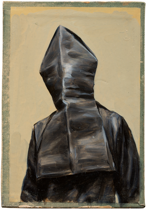Michaël Borremans. Black Mould / Pogo, 2015. Oil on cardboard, 9 1/2 x 6 5/8 in (24.2 x 16.6 cm). Courtesy David Zwirner, New York/London and Zeno X Gallery, Antwerp.