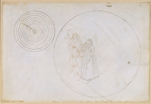 Sandro Botticelli. Beatrice explains to Dante the order of the cosmos (Divine Comedy, Paradiso II), c1481-1495. Pen and brown ink over metal pen on parchment, 32.4 x 47.4 cm. © Staatliche Museen zu Berlin, Kupferstichkabinett/Philipp Allard.