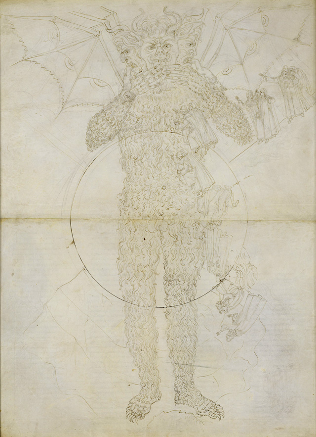 Sandro Botticelli. Centre of Hell. The full figure of Lucifer (Divine Comedy, Inferno XXXIV,2), c1481-1495,