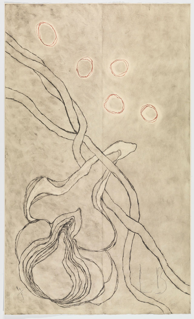 Louise Bourgeois. Love and Kisses, 2007. Etching on paper, 153 x 91.8 cm (60 ¼ x 36 1/8 in). © The Easton Foundation/VAGA, New York/DACS, London 2016. Courtesy Hauser & Wirth.