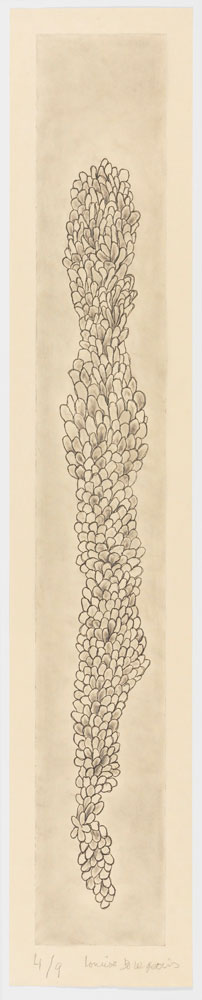 Louise Bourgeois. Swaying, 2006. Etching and graphite on paper, 151.1 x 28.6 cm (59 1/2 x 11 1/4 in). © The Easton Foundation/VAGA, New York/DACS, London 2016. Courtesy Hauser & Wirth.