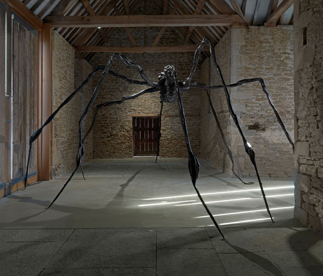 The opening room at Hauser & Wirth Somerset has been transformed into a spider's lair, a fitting scene to start this exhibition of late etchings by Louise Bourgeois, seen here together for the first time