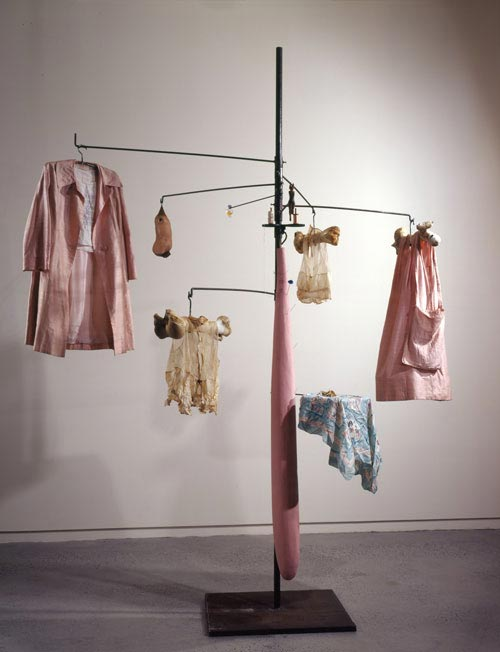 Louise Bourgeois. <em>Pink Days and Blue Days</em>, 1997. Steel, fabric, bone, wood, glass, rubber and mixed media. Overall: 297.2 x 221 x 221 cm. Whitney Museum of American Art 97.101a-s. © Louise Bourgeois