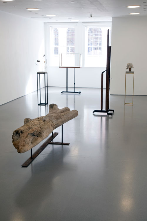 Installation view of Gallery 1. Foreground: Carol Bove, Untitled (Driftwood Bench), 2004. Found wood, steel. Carol Bove works courtesy of the artist and Maccarone, New York and David Zwirner, New York/London. Photograph: Jerry Hardman-Jones.