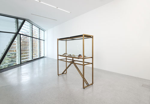 Carlo Scarpa. Vitrine (1956) with Twenty Laboratory Tests for the Brion Tomb (1969-78). Wood, glass, metal (vitrine), Muntz metal (laboratory tests), 202 x 190 x 62 cm (vitrine), dimensions variable (laboratory tests). Museo di Castelvecchio, Archivio Carlo Scarpa, Verona/Museo delle Rarità Carlo Scarpa, Castello di Monselice. Installation view, Carol Bove/Carlo Scarpa, Museion, Bolzano. © Museion. Photograph: Augustin Ochsenreiter.