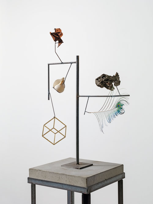 Carol Bove. Heraclitus (detail), 2014. Seashell, feather, found objects, steel, concrete, 182.9 x 45.7 x 31.8 cm. Courtesy the artist, Maccarone, New York and David Zwirner, New York/London.