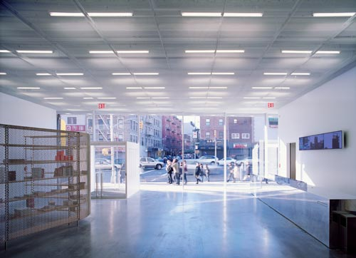 New Museum, lobby, looking out. Photograph: Dean Kaufman
