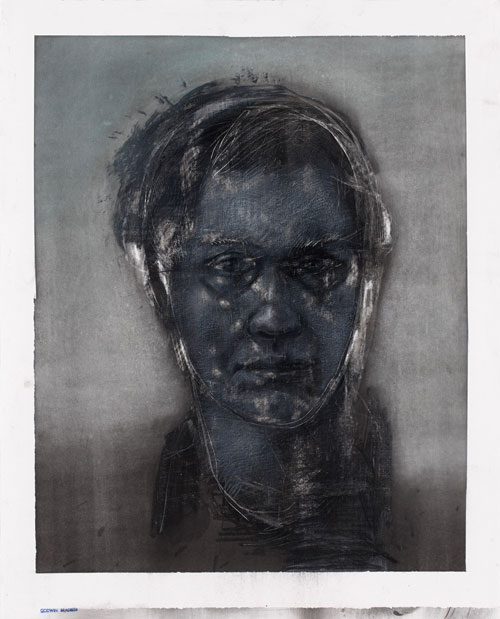 Godwin Bradbeer. Portrait. Drawing - Chinagraph, charocal, pastel on paper, 84.5 x 69 cm.