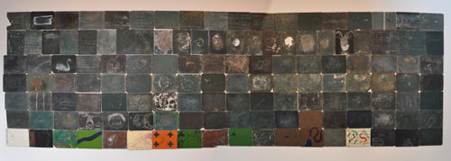 Godwin Bradbeer. Tabula Rasa. Mixed media - installation of over 140 salvaged blackboards, paint, chalk, mixed media, each panel 30 x 40 cm, installation dimensions variable.