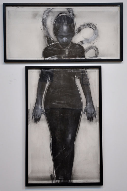Godwin Bradbeer. Black Dress - Diptych. Drawing - Chinagraph, charcoal, pastel on paper, 176.5 x 117 cm.