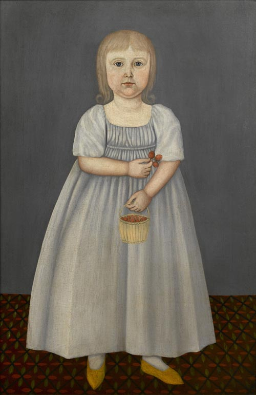 John Brewster Jr. (1766-1854). <em>Child with strawberries</em>. Possibly painted in Connecticut or Maine, ca.1800. Oil on canvas 37 1/2 x 25 1/8&quot;. Private collection. Photo credit: Gavin Ashworth.