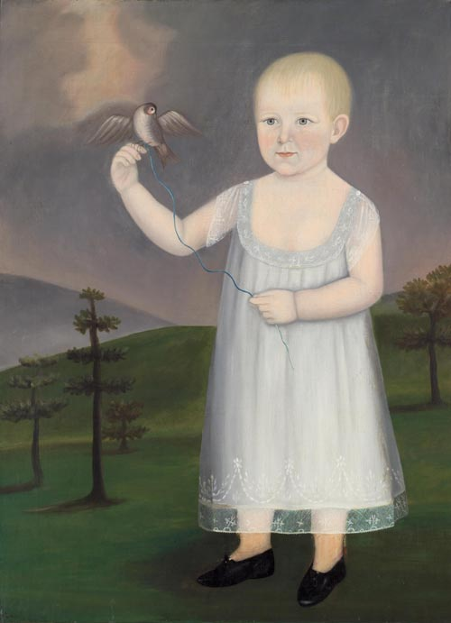 John Brewster Jr. (1766-1854). <em>Francis O Watts with Bird</em>. Painted in Kennebunk, Maine, 1805. Oil on canvas 35 1/4 x 27 in. Collection of Fenimore Art Museum, Cooperstown, New York. Gift of Stephen C. Clark. Photo credit: David Stansbury.