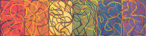 Brice Marden. <em>The Propitious Garden of Plane Image</em>, <em>Third Version</em>  (Photographed unfinished in May 2006) 2000-06. Oil on linen. Six panels, overall 72 x 288 in (182.9 x 731.5 cm). Collection the artist. Courtesy Matthew Marks Gallery, New York &copy; 2006 Brice Marden/Artists Rights Society (ARS), New York.