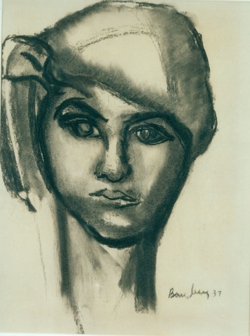 David Bomberg. Dinora, 1937. Charcoal on paper, 64 x 54 cm. Private collection