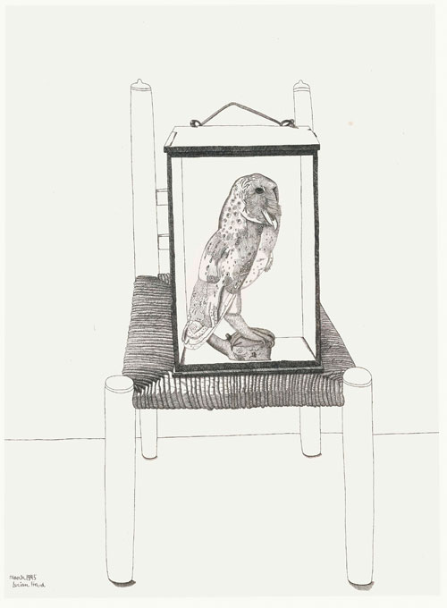 Lucian Freud. Untitled (Interior drawing, The owl), 1945. Pen and ink on paper, 54.5 by 40.5 cm. Private collection.