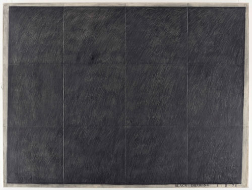 Bob Law. Black Drawing 1. 2. 72, 1972. Graphite on paper mounted on canvas, 152.2 x 202.2 cm. Private collection, London.