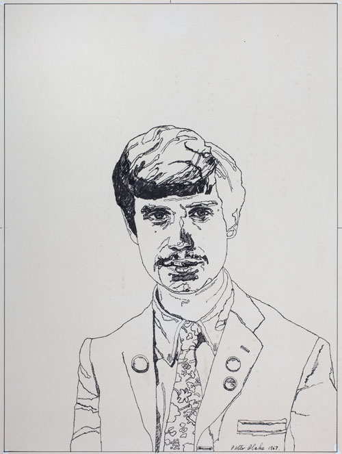 Peter Blake. The Student, 1967. Ink on paper
