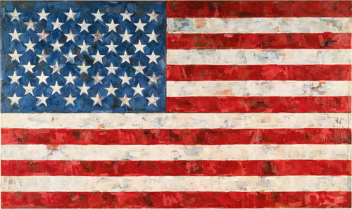 Jasper Johns. Flag, 1967. Encaustic and collage on canvas (three panels), 33 1/2 x 56 1/4 in. Art © Jasper Johns/Licensed by VAGA, New York, NY.