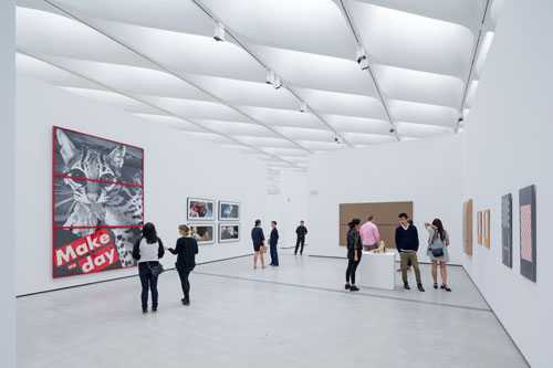 Installation view of works by Barbara Kruger, Cindy Sherman, Richard Prince and Sherrie Levine in The Broad's third-floor galleries. Photograph: Iwan Baan, courtesy of The Broad and DIller Scofidio + Renfro.