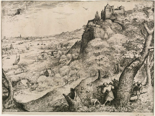 Pieter Bruegel the Elder. Rabbit hunt, 1560. Etching, 22.2 x 29.1 cm. The Courtauld Gallery, London.