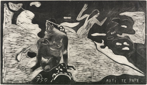Paul Gauguin. Auti Te Pape (Women at the River). From the Noa Noa series 1893-1894, printed 1921. Wood engraving on China paper, 20.5 x 35.5 cm (block), 27 x 42.4 cm (sheet). © The Samuel Courtauld Trust, The Courtauld Gallery, London.