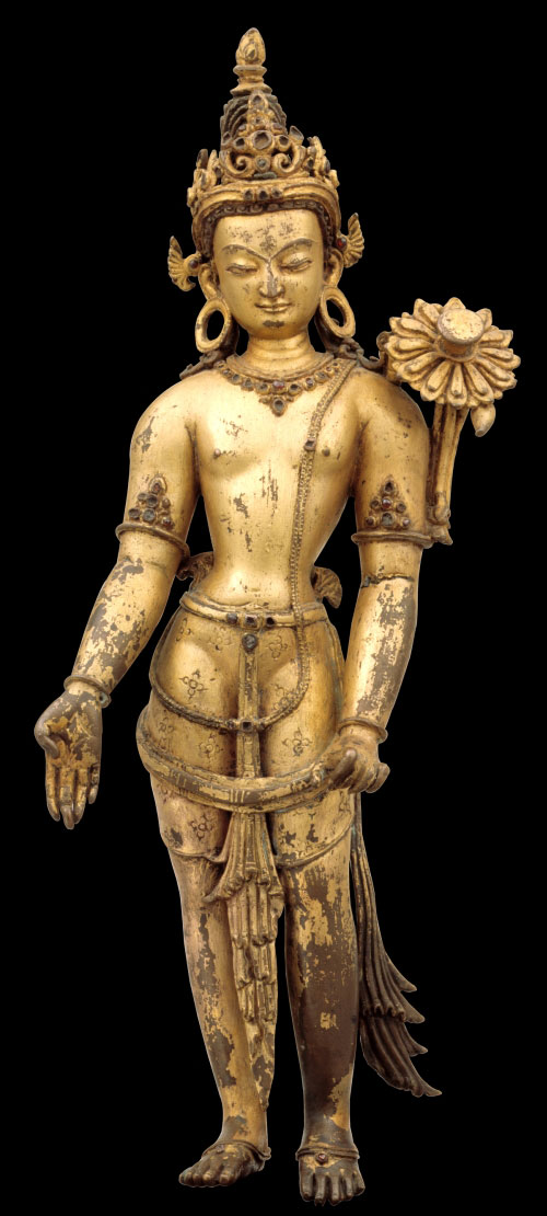 <em>Avalokiteshvara, Padmpani</em>. Nepal, 13th century. Gilt copper alloy with inlays of semiprecious stones, 15 x 5 x 4 in. Rubin Museum of Art, C23005.16.8 (HAR 65430)