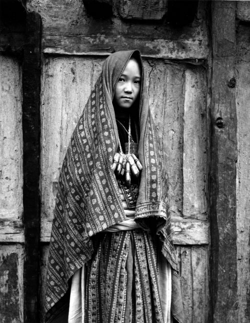 Kevin Bubriski. <em>Buddhist bride, Mugu village, Mugu,</em> 1985. Gelatin silver print, 18 x 14 in. Collection of Kevin Bubriski