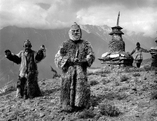 Kevin Bubriski<em>. Ritual Dancers, Limitang Village, Humla</em>, 1985. Gelatin silver print, 14 x 18 in. &copy; Collection of Kevin Bubriski