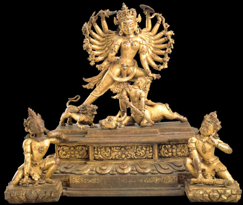 <em>Durga.</em> Nepal, 13th century. Gilt copper alloy, 11 x 13 x 7&frac14; in. Rubin Museum of Art, C2005.16.11 (HAR 65433)