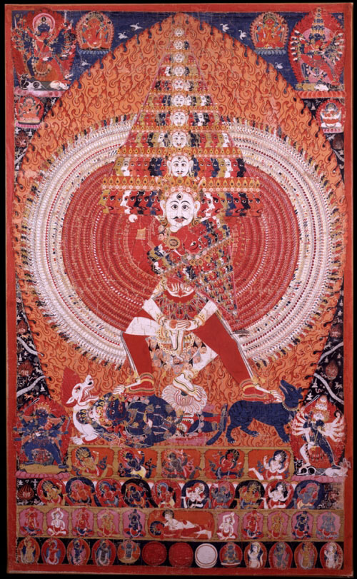 <em>Shiva Vishavarupa, Universal Form with Consort.</em> Nepal, mid-19th century. Pigment on cloth, 63 x 38 in. Rubin Museum of Art, C2003.20.2 (HAR 65250)