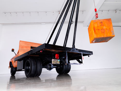 Chris Burden. 1 Ton Crane Truck, 2009. Restored 1964 F350 Ford crane truck with one-ton cast-iron weight, 14 ft × 22 ft 10 in × 8 ft (4.2 × 6.9 × 2.4 m). Courtesy the artist and Gagosian Gallery.