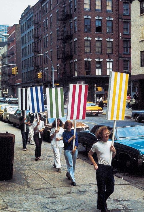 Daniel Buren. <em>Seven Ballets in Manhattan </em>work <em>in situ</em>, New York, USA. 27 May-2 June 1975. Detail. © DB & ADAGP.