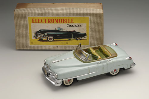 "General Motors Cadillac 62 Eldorado Four-Door Convertible, 1950; ""Electromobile"" version with battery-powered motor and working lights. 13 3/4 x 6 1/4 x 4 1/4 in. (35 x 16 x 11 cm). Nomura Toys. Yoku Tanaka Collection. Photo: Tadaaki Nakagawa."