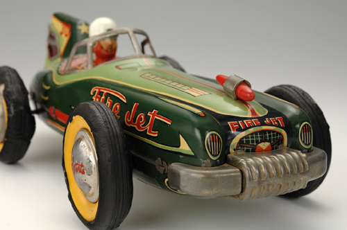 """Fire Jet"" racing car, about 1955. 13 3/8 x 6 1/4 x 5 1/8 in. (34 x 16 x 13 cm). Asahi Gangu. Yoku Tanaka Collection. Photo: Tadaaki Nakagawa."