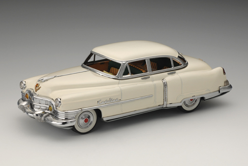 General Motors Cadillac 62 Four-Door Sedan, 1950; with friction motor. 12 3/4 x 5 1/8 x 3 7/8 in. (32.5 x 13 x 10 cm). First sold by Marusan Shoten in 1953–54. Yoku Tanaka Collection. Photo: Tadaaki Nakagawa.